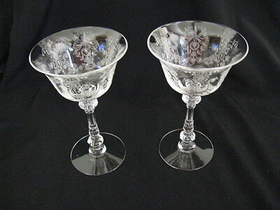 "2 Vintage Heisey Orchid 5 1/2"" Liquor Cocktail Stems"