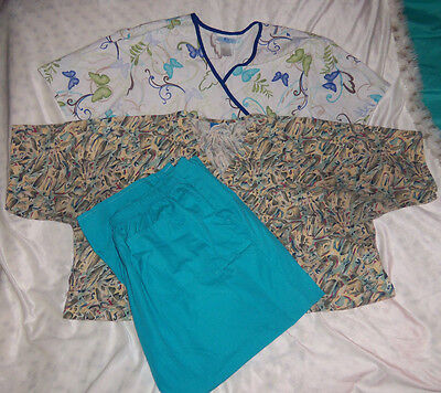 SB SCRUBS Sz 2XL CREST Sz XL TOPS & PANTS NURSE VET DENTAL SCRUBS LOT