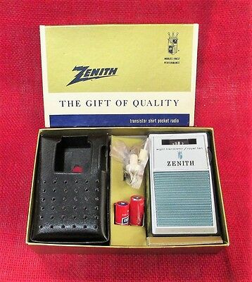 Vtg. Zenith Royal 10, 8 Transistor Radio, Original Box,Case,Earphones, Superb!!