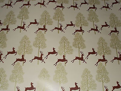 Vtg Christmas Store Wrapping Paper Gift Wrap 2 Yards Deer Gold Trees Very Pretty