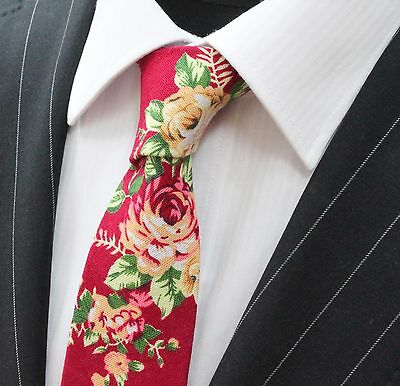 Tie Neck tie Slim Burgundy with Large Floral Quality Cotton T6023