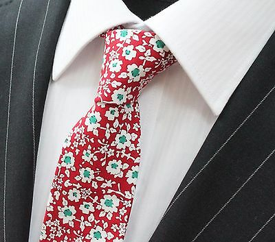 Tie Neck tie Slim Red with White & Green Daisy Floral Quality Cotton T6018