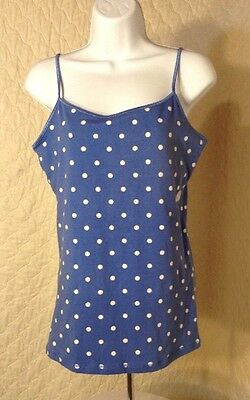 Aeropostale Favorite Cami Stretch Blue White Polka Dot XL