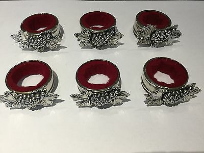 Napkin rings superb silver plated grape design napkin rings set of six