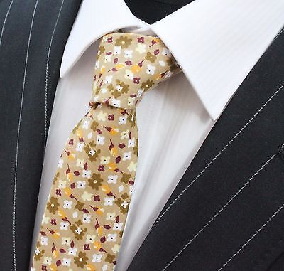 Tie Neck tie Slim Light Brown With Floral Quality Cotton T6133