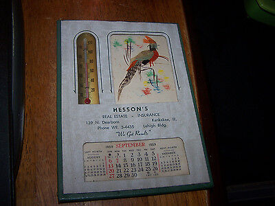 Vintage Advertising Thermometer 1959 Calendar HESSON'S REAL ESTATE KANKAKEE IL