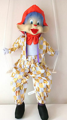 "New Large Hanging Clown Doll Gold Costume 18"" On Wooden Swing Porcelain Head."