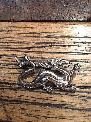 "Sterling Silver Dragon Pin/brooch. 1.75"" X 1 1/8"" Approximately.  .23 Oz"