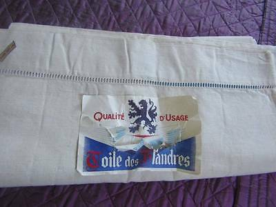 "Vintage Unused Flanders Linen Sheet 84"" x 120"""