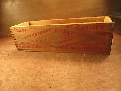 Old Wood Wooden DIAMOND BRAND CREAM CHEESE Advertising Dovetail Box Crate VGC
