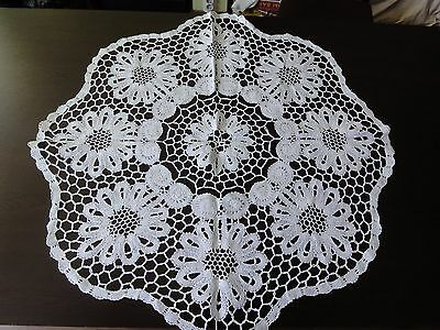 Vintage Handmade White Cotton Crochet Brussels Lace Round Tablecloth