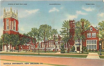 New Orleans LA~Gothic Tower at Loyola University~1940s Postcard