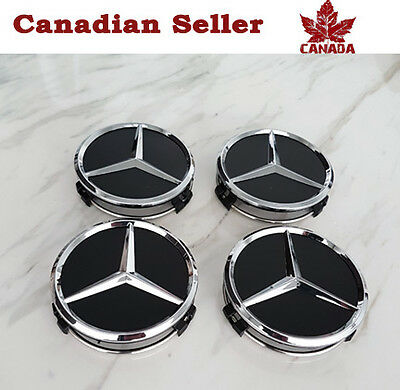 Mercedes Benz Wheel Center Caps - Set of 4 - Mat Black & Silver - All Models