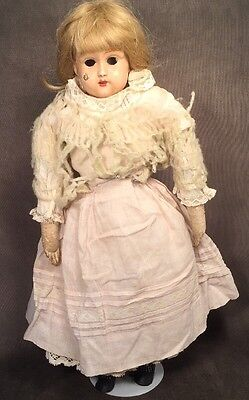 Rare Antique German Crown Juno Tin Head Cloth Leather Sawdust Doll Teeth 20""