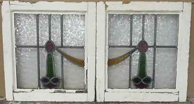 """PAIR OF OLD ENGLISH STAINED GLASS WINDOWS Pretty Swag 18"""" x 16.5"""" EACH"""
