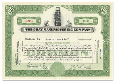 Gray Manufacturing Company Stock Certificate