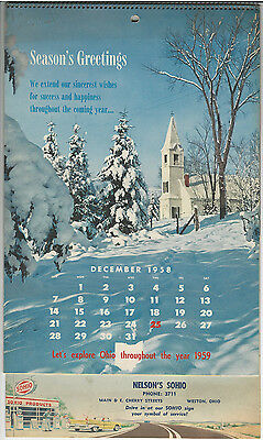1959 Sohio Calendar Advertising Nelson's Sohio in Weston, Ohio Let's Explore Oh