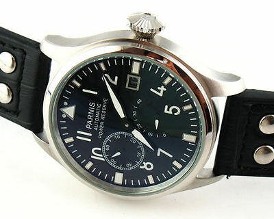 Parnis 47mm steel Power Reserve Seagull 2530 Automatic Men's Date Watch 155