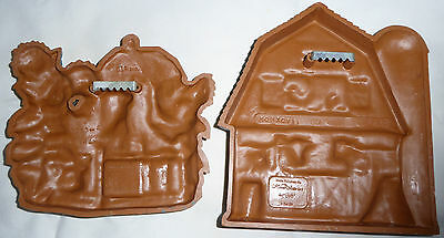 2 cute vintage barn-yard plaques,cow,pig,rooster,molded plastic,home interiors
