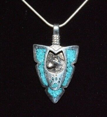 Native American Wolf  Arrowhead Necklace Turquoise Sterling Silver Navajo Artist