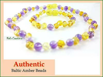 Certified Genuine Baltic Amber Necklace Bracelet Bead Baby Child Amethyst Lemon