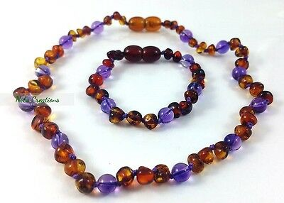 Certified Genuine Baltic Amber Necklace Bracelet Bead Baby Child Amethyst Cherr