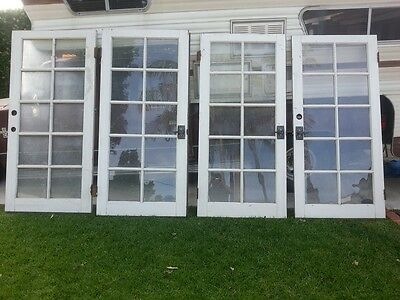 4 Vintage French Wooden Doors Antique 10 Pane Glass Hindges Handles Locks
