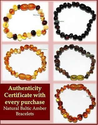 Baltic Amber Bracelet Bead Baby Child, Genuine Natural with certificate for kids