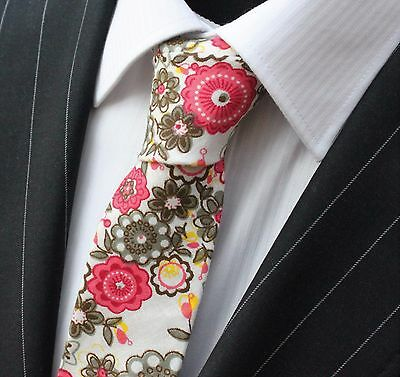 Tie Neck tie Slim White with Multi Floral Quality Cotton T6115