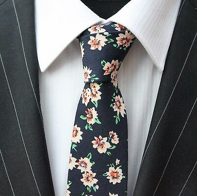Tie Neck tie Slim Dark Blue with Peach Floral Quality Cotton T6044