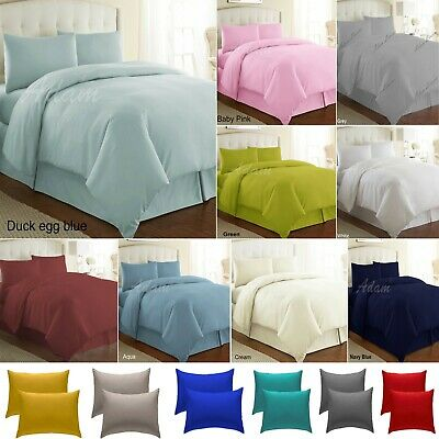 Plain Dyed Duvet Quilt Cover With Pillowcase Polycotton Bedding Set In All Sizes
