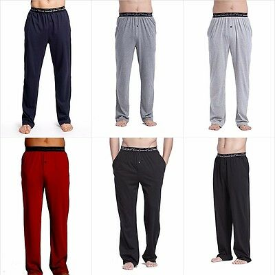 Men's 100% Cotton Knit Pajama Pants Long Comfort Sleepwear Sizes S M L XL XXL