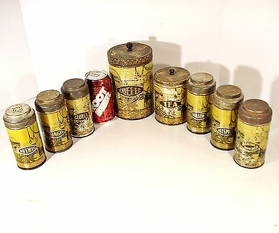 Antique Coffee/Tea/Spice Tin CANISTER Set Hoosier Cabinet Boone Kitchen Cupboard