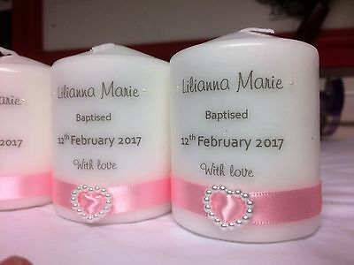 Christening Baptism  Communion Confirmation Candles With Pearl Heart And Bag