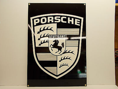"""PORSCHE SHIELD DEALER SIGN HUGE 34"""" high by 24"""" wide. AWESOME sign. VERY HEAVY."""