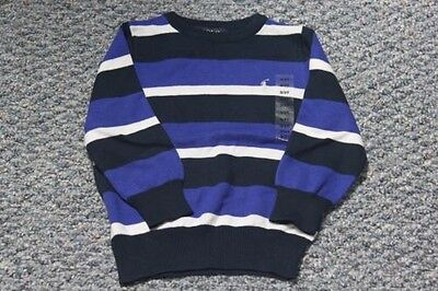 Polo Ralph Lauren Crew Neck Boy Sweater Blue/White Stripes 100% Cotton NWT