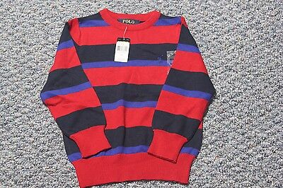 Polo Ralph Lauren Crew Neck Boy Sweater Red/Blue Stripes 100% Cotton NWT