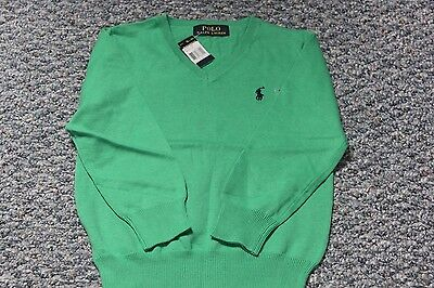 Polo Ralph Lauren V-Neck Boy Sweater Green 100% Cotton NWT Size 6T