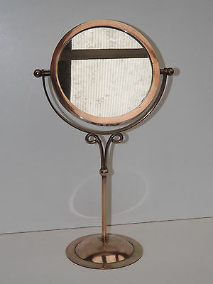 Antique Victorian Bronze & Brass Double Sided Shaving/Make Up Mirror On Stand