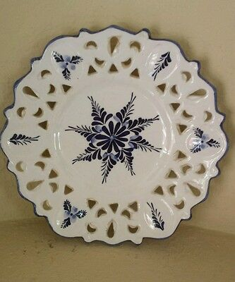 Vintage hand  painted blue and white plate made in Portugal