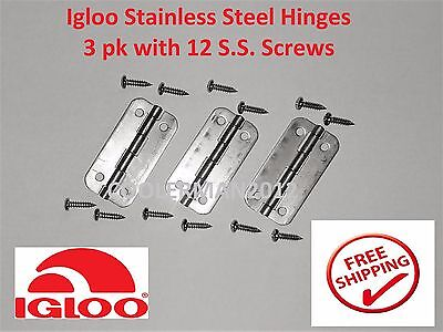3pk Igloo Stainless Steel Cooler Hinges 3 pk 12 SS Screws #24005 Metal Hinge