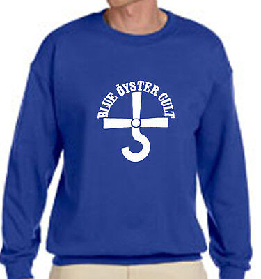 New BOC BLUE OYSTER CULT Rock Band Logo - Blue Sweater - Size S-3XL