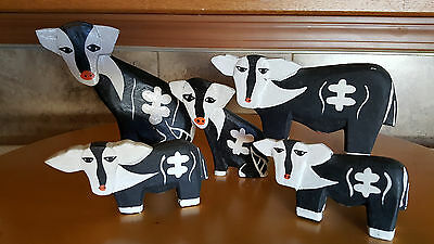 Cows Black & White 5 Hand Carved Painted Solid Wood Figurines Asian Folk Art