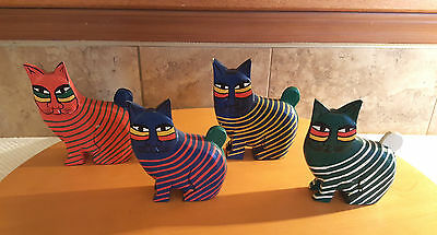 4 Vintage Striped Cats Hand Carved Painted Solid Wood Figurines Asian Folk Art