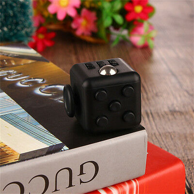 Black Fun Fidget Cube 6 Sided Adult Anxiety Stress Relief Cube Toys for Gift