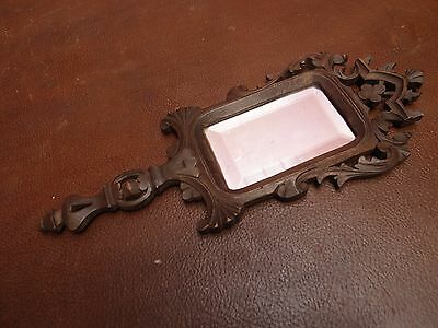 Antique Vintage 1930s Carved Wooden Gothic Design Rectangular Hand Mirror