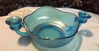"Dugan Diamond ""Celeste Blue 2 Handled Candle Bowl"" Excellent Condition"