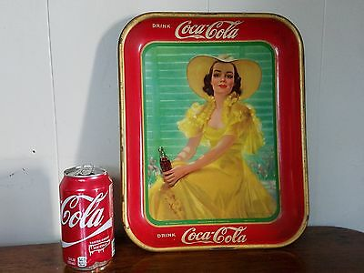1938 Original COCA COLA Tray Yellow Dress & Hat  American Art Works Coshocton,OH