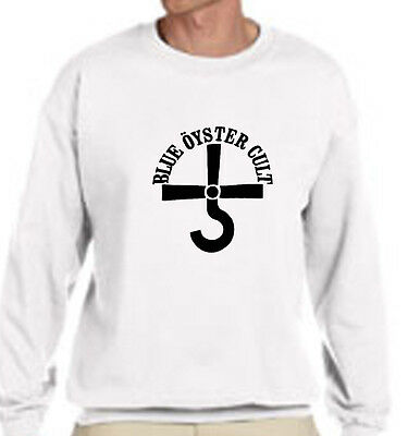 New BOC BLUE OYSTER CULT Rock Band Logo - White Sweater - Size S-3XL