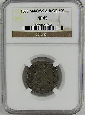 1853 Arrows & Rays Seated Liberty Quarter Ngc Xf45